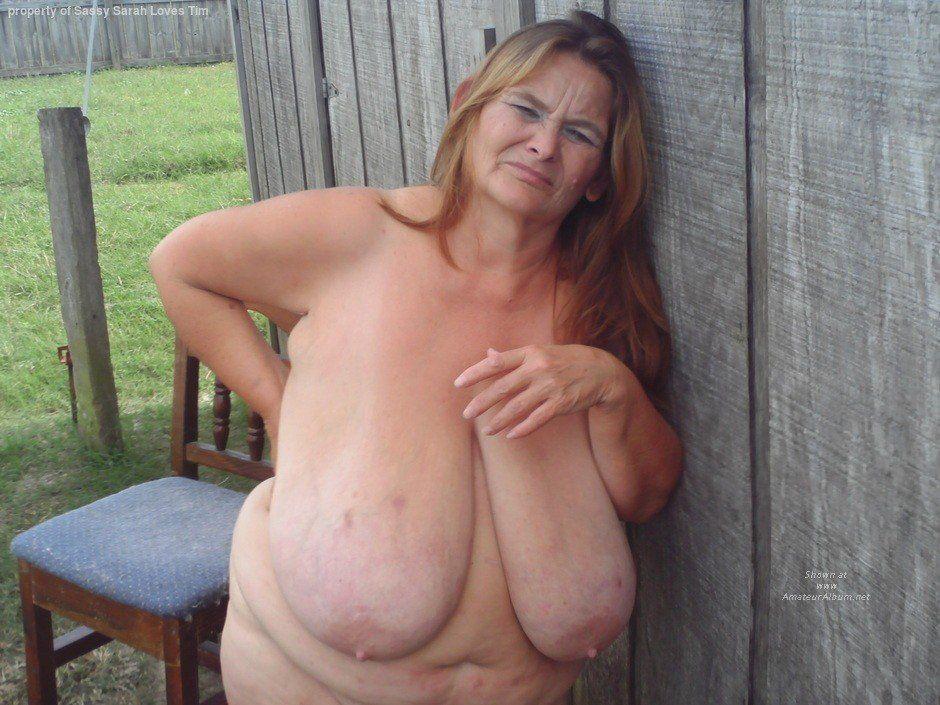 Saggy tits mature granny