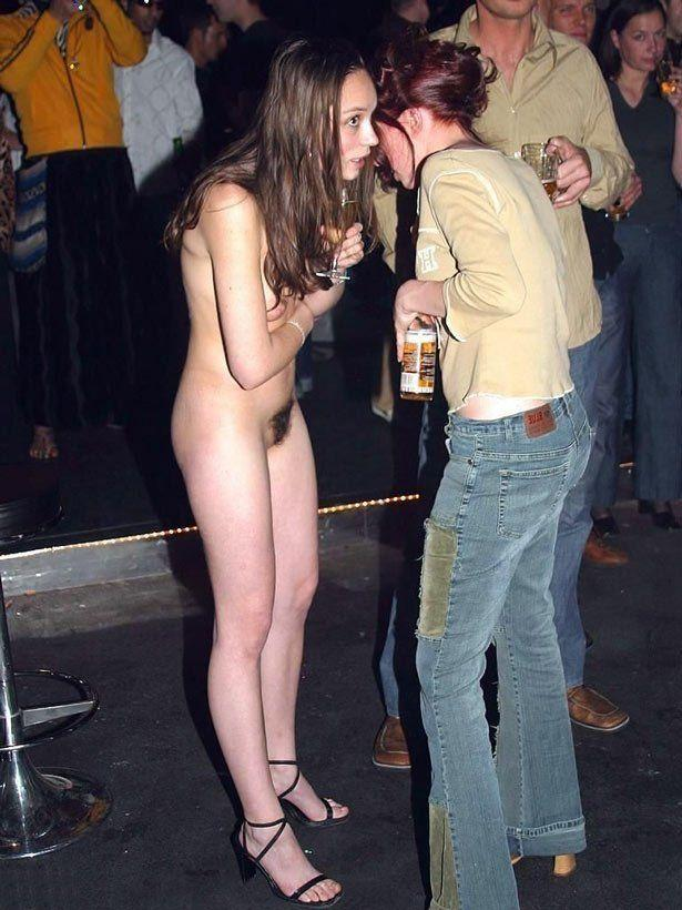 Drunken women naked dancing