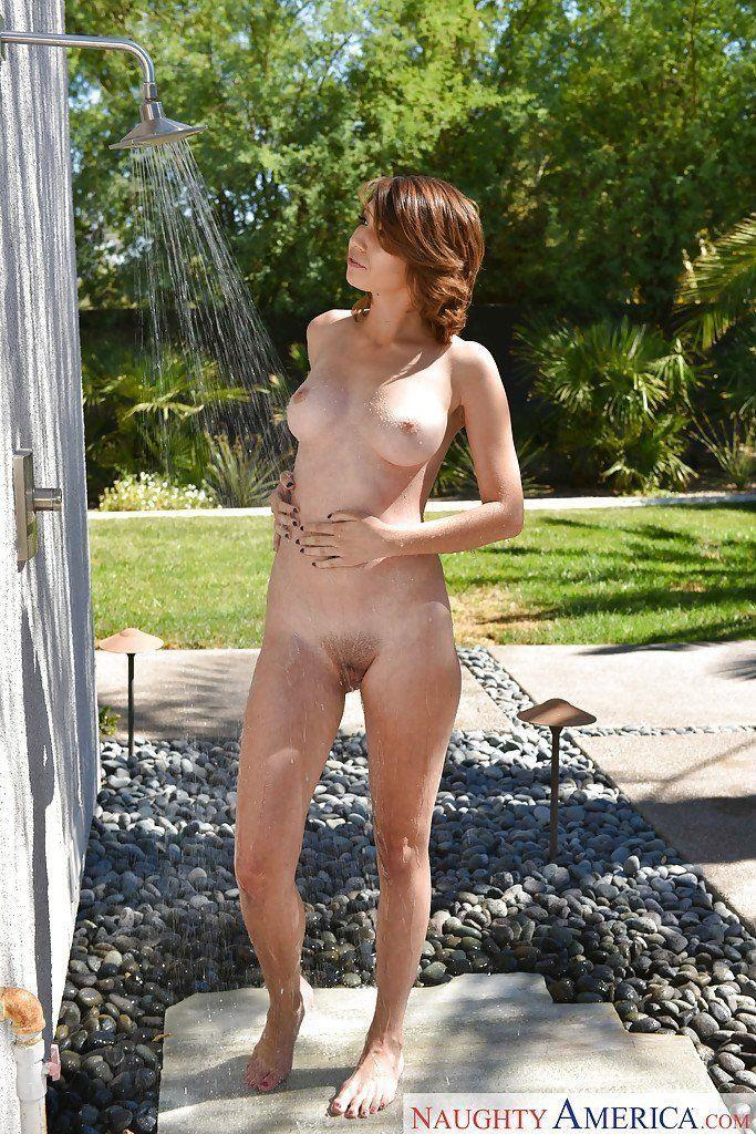 Shower nude outdoor mom